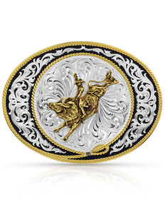 Montana Silversmiths Ranch Rope Bull Rider Buckle, Silver, hi-res