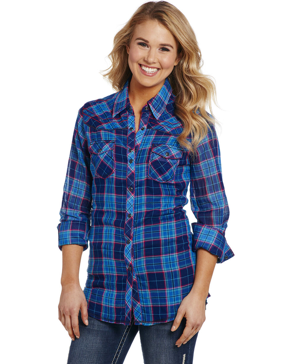 Cowgirl Up Women's Blue Plaid Double Pocket Shirt , Blue, hi-res