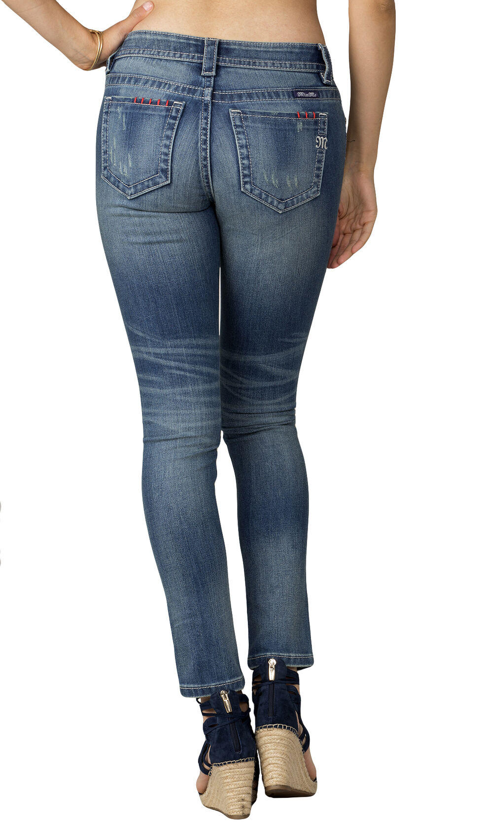 Miss Me Women's Floral Patch Ankle Skinny Jeans, Indigo, hi-res