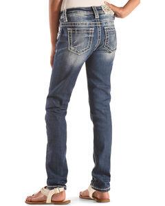 Miss Me Girls' Floral Pocket Jeans , Indigo, hi-res