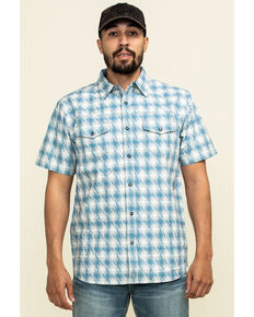 Moonshine Spirit Men's Thunderstruck Plaid Short Sleeve Western Shirt , Blue, hi-res