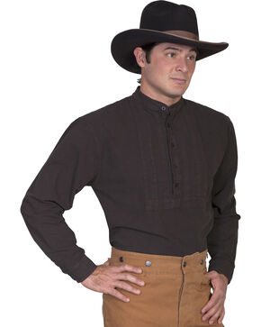 Rangewear by Scully Classic Pleated Bib Inset Frontier Shirt, Brown, hi-res