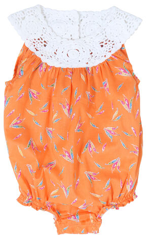 Wrangler All Around Baby Girls' Sleeveless Romper, Orange, hi-res