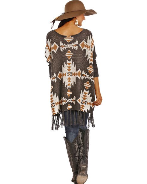 Powder River Outfitters Women's Grey Aztec Poncho , Grey, hi-res