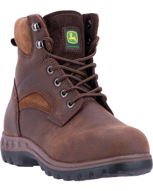 """John Deere Women's 6"""" Lace-Up Removable Orthotic Work Boots - Steel Toe , Brown, hi-res"""