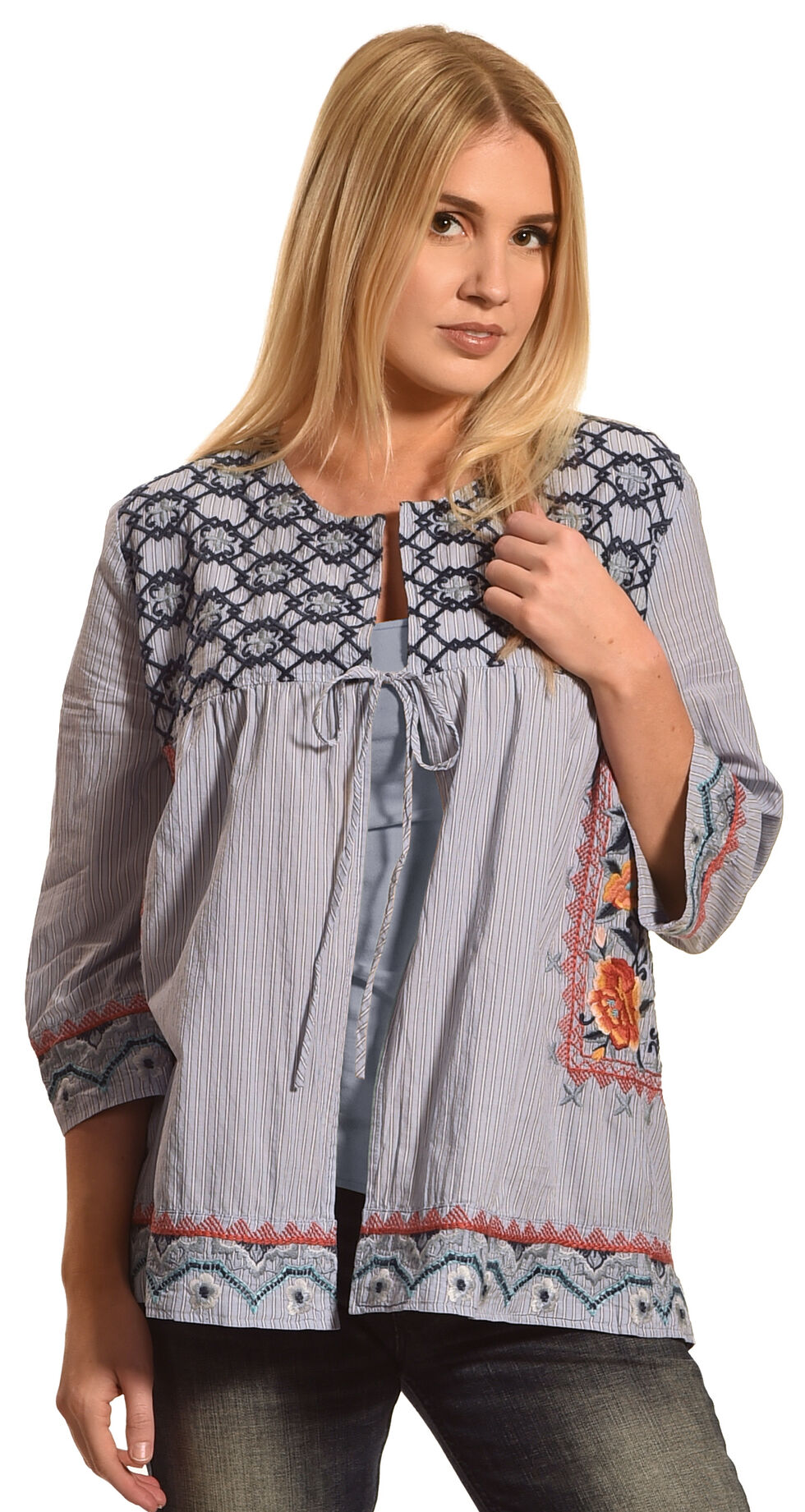 Johnny Was Women's Blue Benton Efortless Cover Up, Blue, hi-res