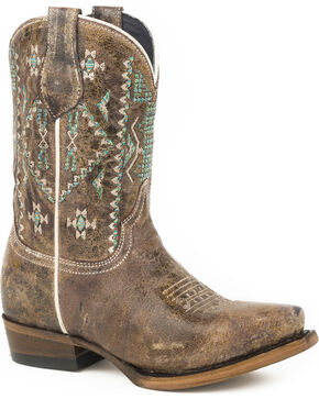 Roper Girls' Old West Aztec Embroidered Cowgirl Boots - Snip Toe, Brown, hi-res