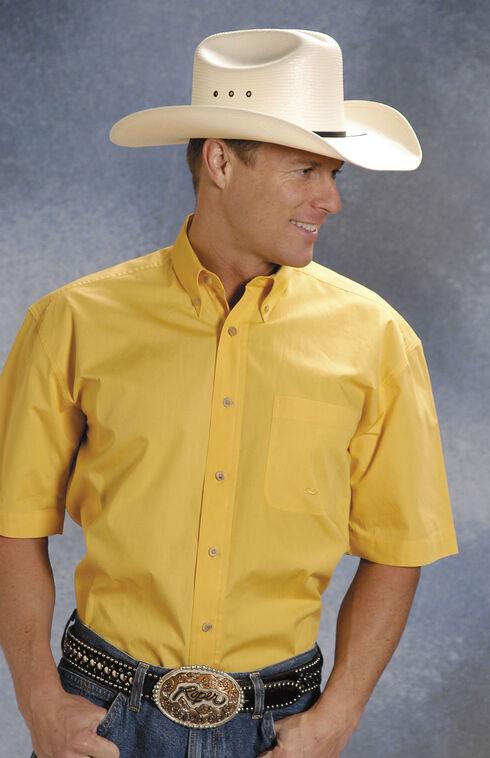 Roper Solid Yellow Poplin Short Sleeve Shirt, Yellow, hi-res