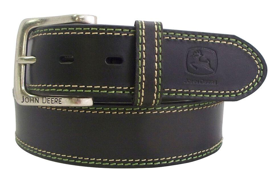 John Deere Brown Buffalo Leather Belt, Black, hi-res