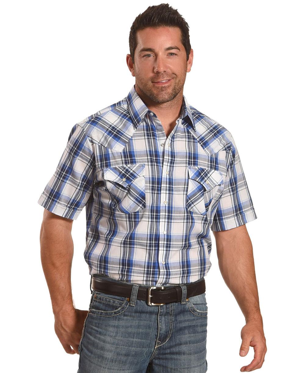 Ely Cattleman Men's Blue Short Sleeve Plaid Shirt , Blue, hi-res