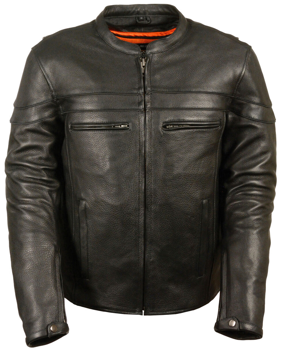 Milwaukee Leather Men's Sporty Scooter Crossover Jacket - 4X, Black, hi-res