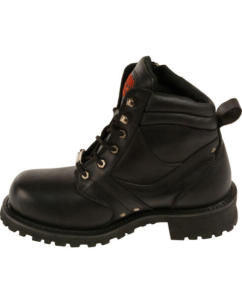 """Milwaukee Leather Men's 6"""" Side Zipper Boots - Round Toe - Wide, Black, hi-res"""