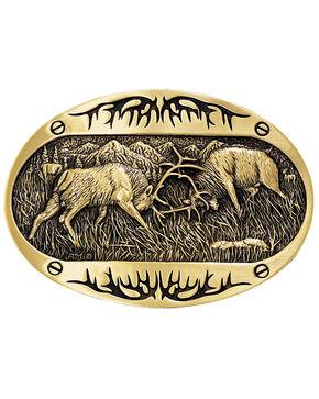 Montana Silversmiths Fighting Elk Brass Heritage Attitude Belt Buckle, Gold, hi-res