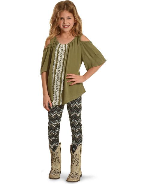 Self Esteem Girls' Cold Shoulder Top and Zigzag Leggings Set, Green, hi-res