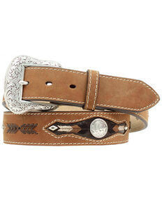 Nocona Buffalo Nickel Concho Leather Belt, Med Brown, hi-res