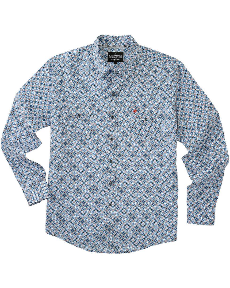 Garth Brooks Sevens by Cinch Men's Multi Blue Snaps Long Sleeve Shirt , Multi, hi-res