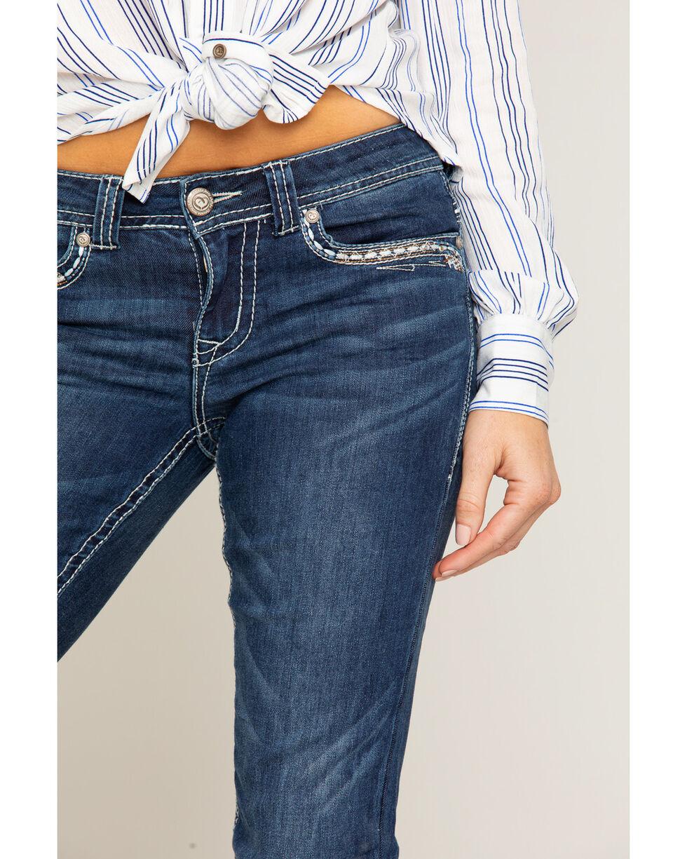 Shyanne Women's Heavy Stitched Boot Cut Jeans, Blue, hi-res