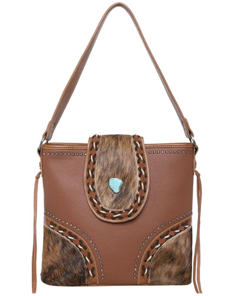 Montana West Women's Cowhide Hobo Bag, Brown, hi-res