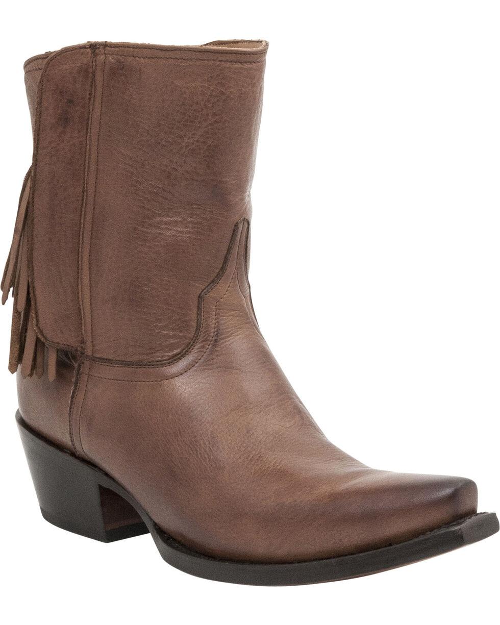 Lucchese Handmade 1883 Women's Flannery Fringe Zipper Boots - Snip Toe, Tan, hi-res