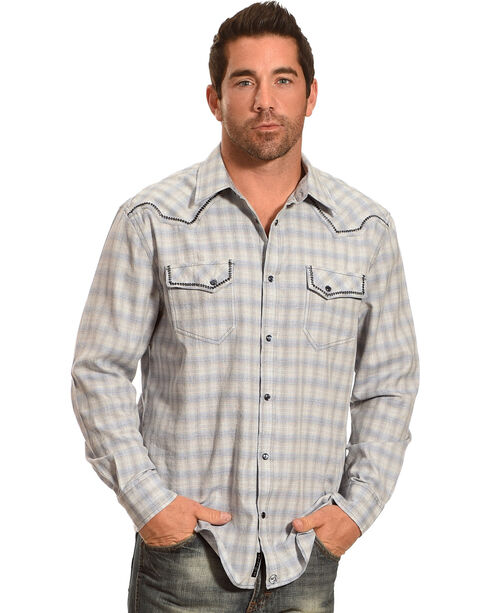 Moonshine Spirit Men's Cat Tail Blue Plaid Long Sleeve Shirt, Blue, hi-res