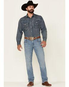 Wrangler Retro Premium Men's Glow Light Wash Stretch Slim Straight Jeans , Blue, hi-res