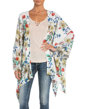 Miss Me Floral Butterfly Kimono, White, hi-res