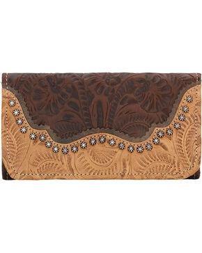 American West Women's Saddle Ridge Tri-Fold Wallet , Chestnut, hi-res