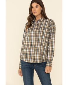 Wrangler Riggs Women's Brown Plaid Long Sleeve Work Shirt, Brown, hi-res