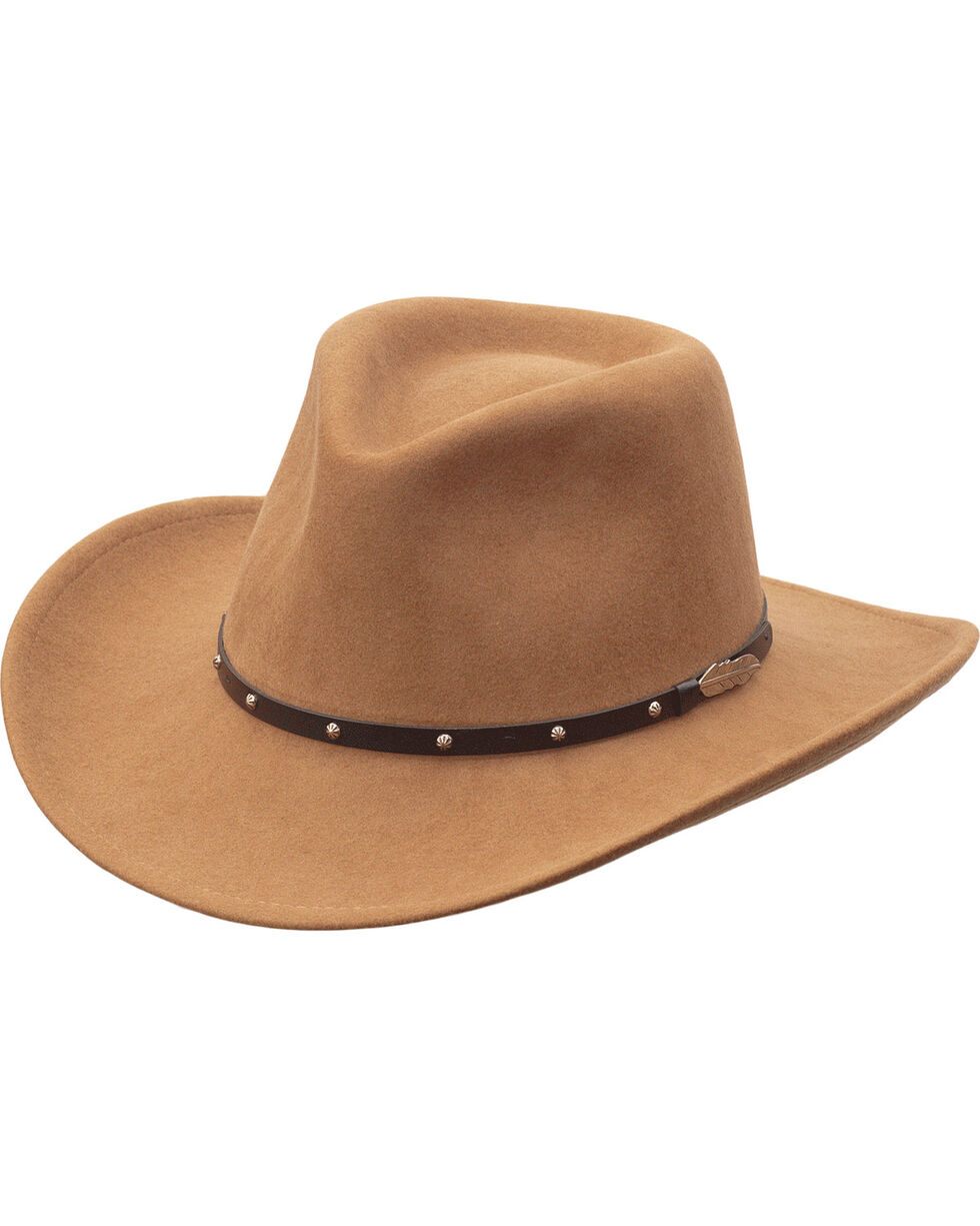 Black Creek Men's Camel Feather Concho Crushable Western Hat , Camel, hi-res