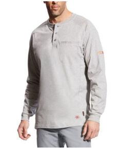 Ariat Men's Grey FR Air Long Sleeve Work Henley Shirt - Tall, Heather Grey, hi-res