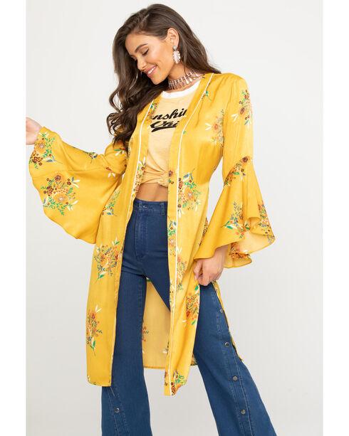 Flying Tomato Women's Floral Satin Duster Kimono, Dark Yellow, hi-res