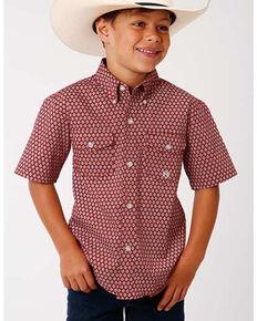 Amarillo Boys' Red Barn Foulard Geo Print Short Sleeve Western Shirt , Red, hi-res