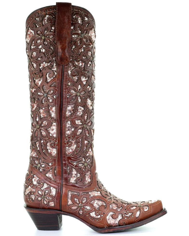 Corral Women's Star Inlay & Embroidery Western Boots - Snip Toe, Tan, hi-res