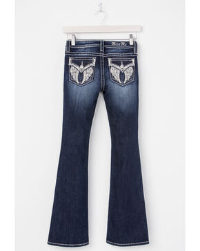 Miss Me Girls' Open Your Heart Boot Cut Jeans, Indigo, hi-res