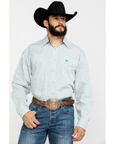 Panhandle Select Men's White Geo Print Long Sleeve Western Shirt , Forest Green, hi-res