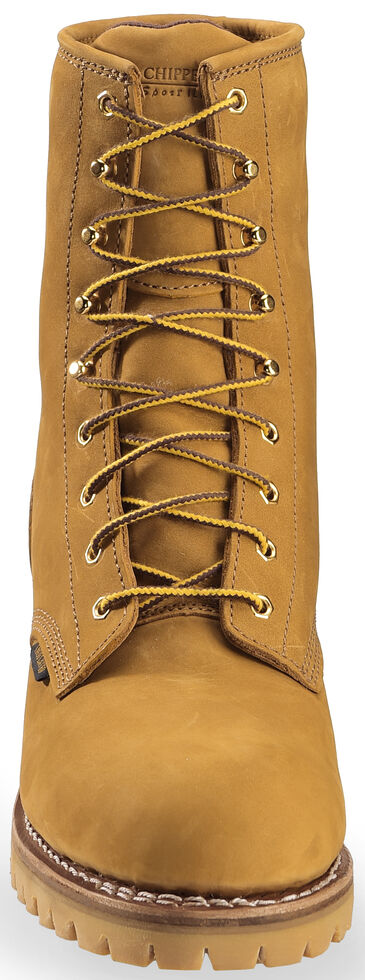 """Chippewa 8"""" Lace-Up Nubuc Insulated Logger Boots - Steel Toe, Golden Tan, hi-res"""