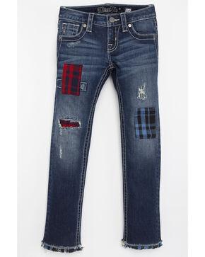 Miss Me Girls' Plaid Patchwork Jeans - Skinny, Blue, hi-res