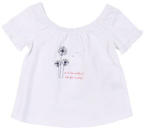 Wrangler Infant Girls' White Screen Print Short Sleeve Shirt, White, hi-res