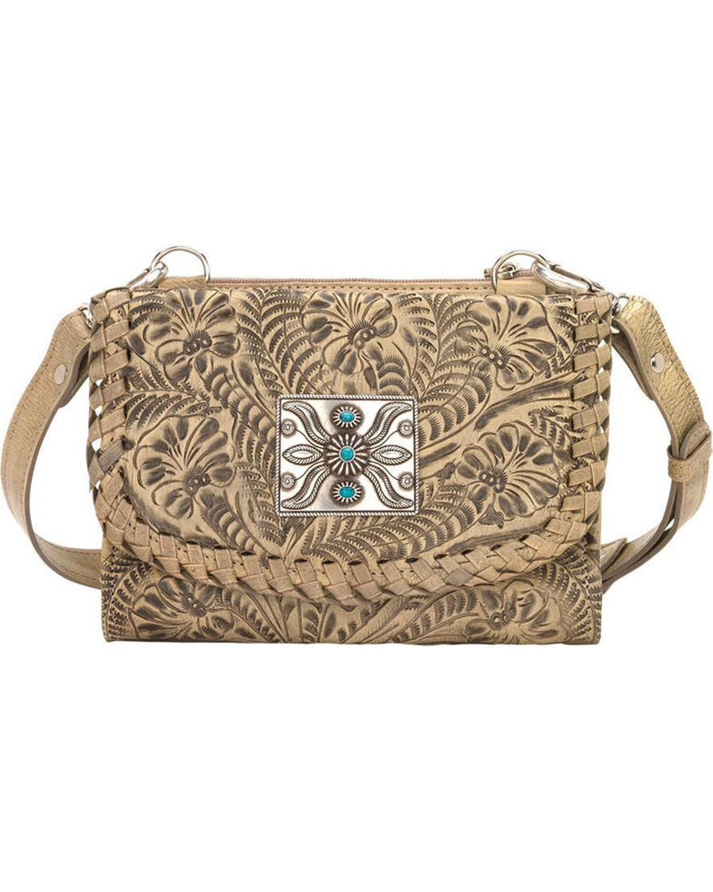 American West Women's Two Step Small Crossbody Bag , Sand, hi-res
