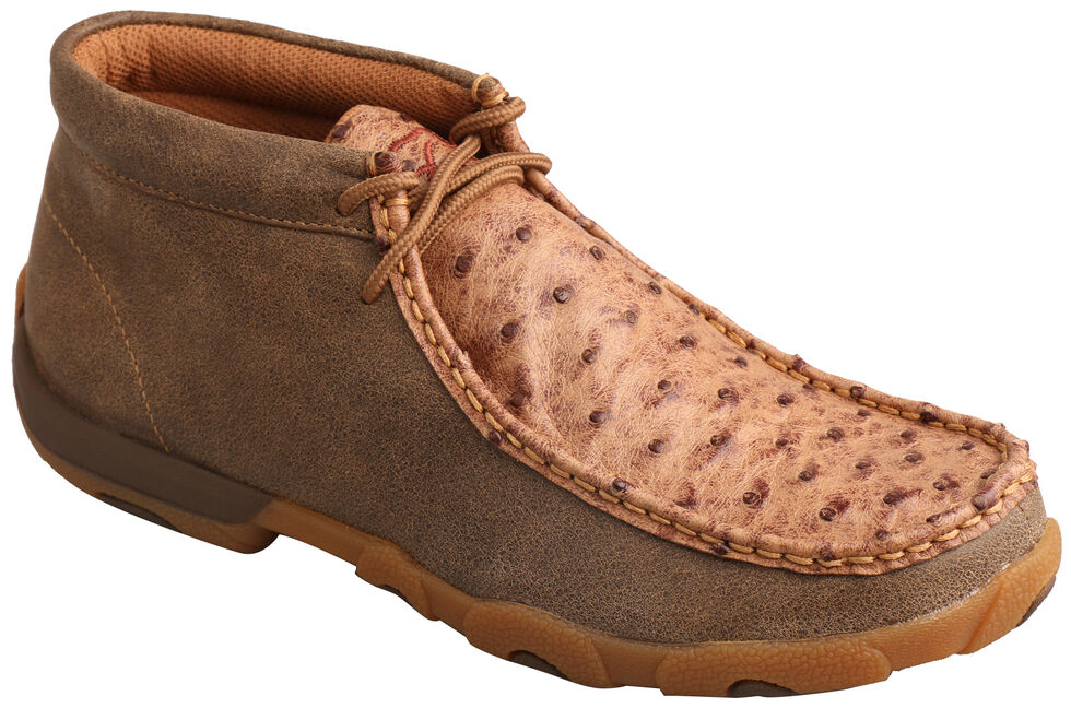 Twisted X Women's Full Quill Ostrich Lace-Up Driving Mocs , Brown, hi-res