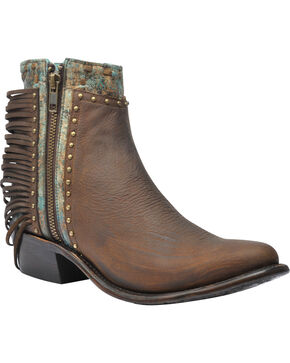 Corral Women's Zipper and Studs Ankle Boots - Round Toe , Honey, hi-res