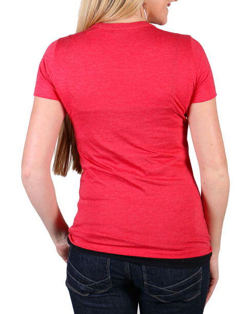 Cowgirl Tuff Women's Red Double Lucky Short Sleeve Tee , Red, hi-res