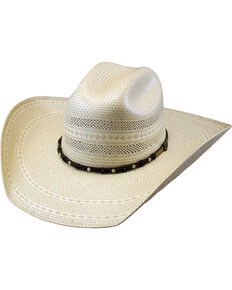 Justin Ivory Hutson Bent Rail Straw Cowboy Hat , Ivory, hi-res