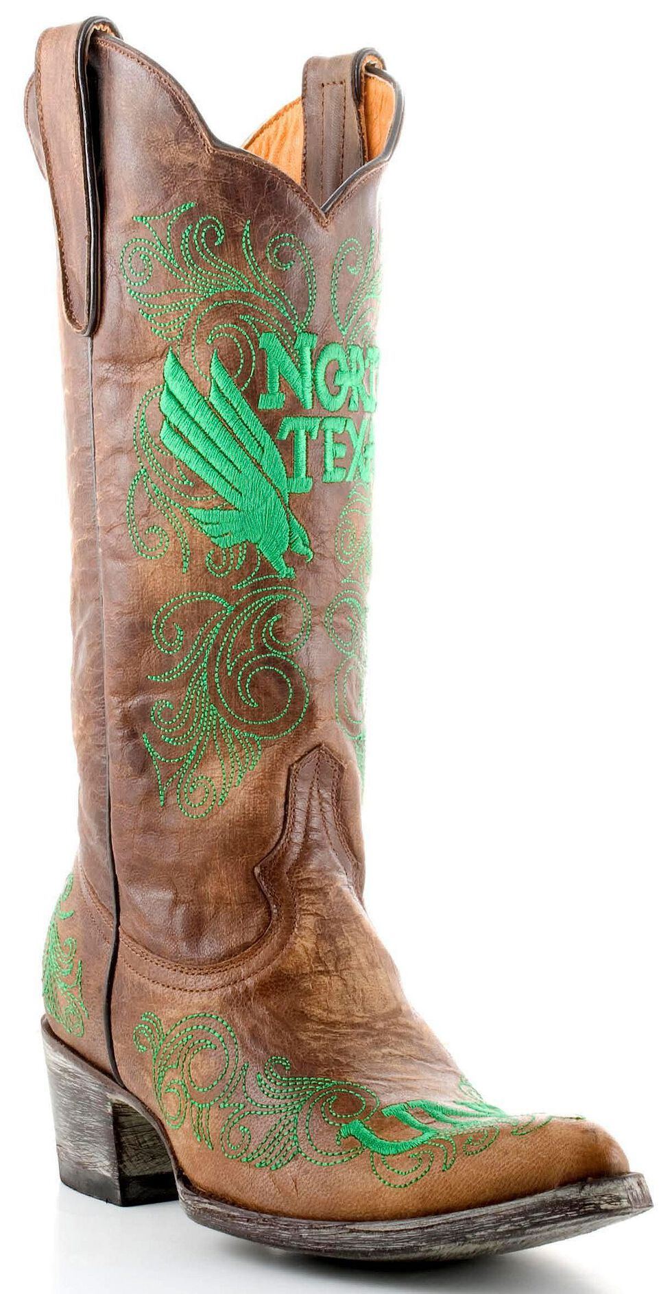 Gameday University of North Texas Cowgirl Boots - Pointed Toe, Brass, hi-res