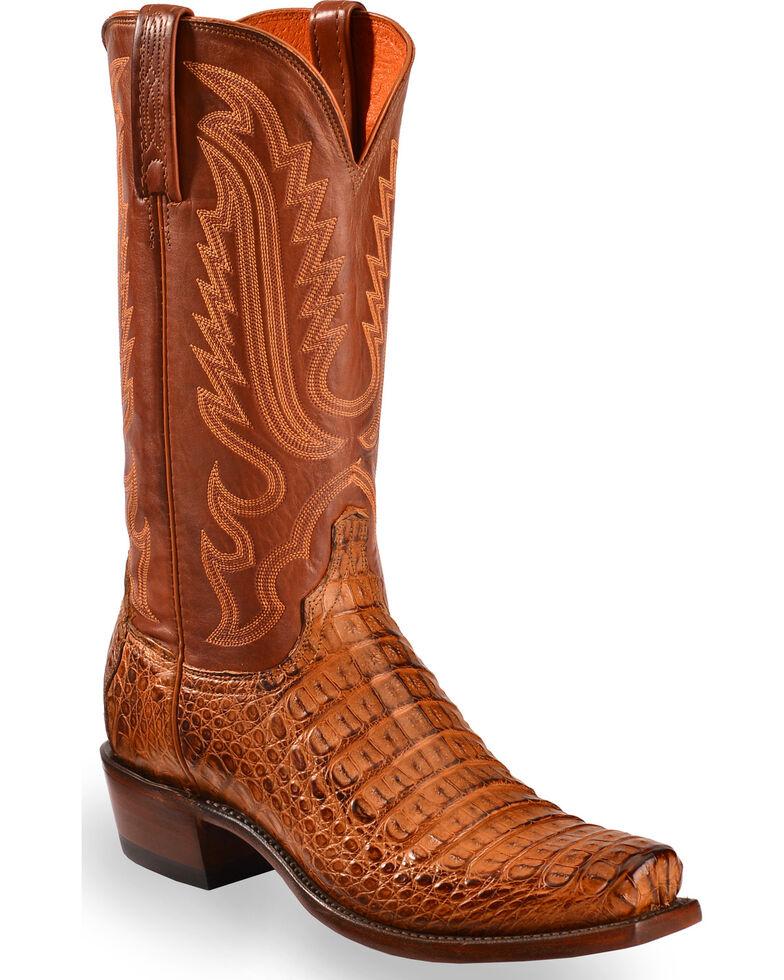 Lucchese Men's Handmade Walter Hornback Caiman Belly Boots - Snip Toe , Tan, hi-res