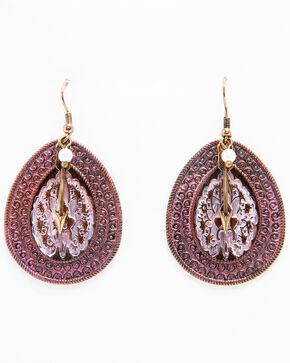Shyanne Women's Pink Painted Embossed Teardrop Pearl Dangle Earrings, Turquoise, hi-res