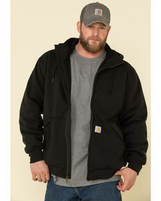 Carhartt Men's Black Rain Defender Thermal Lined Zip Work Hooded Sweatshirt - Tall, Black, hi-res