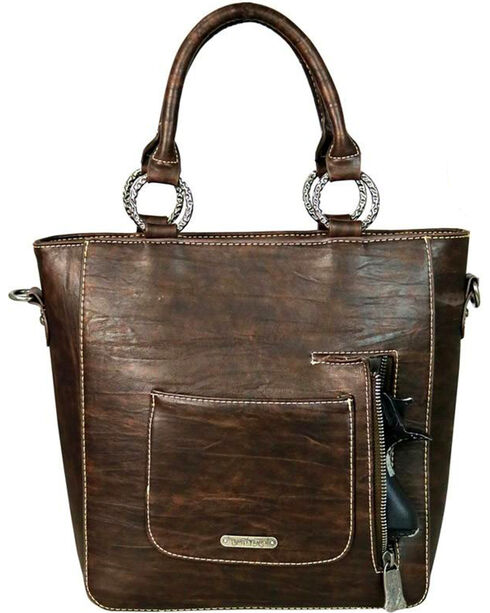 Trinity Ranch Women's Coffee Concealed Carry Leather Tote , Brown, hi-res