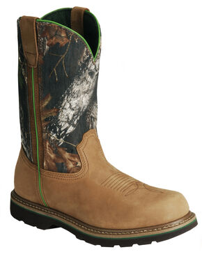 John Deere Mossy Oak Camo Wellington Work Boots - Steel Toe, Tan, hi-res