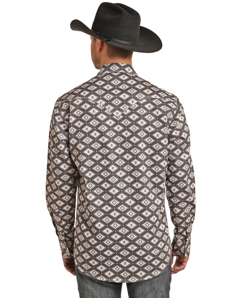 Rock & Roll Denim Men's FR Printed Aztec Twill Long Sleeve Work Shirt - Big , Charcoal, hi-res